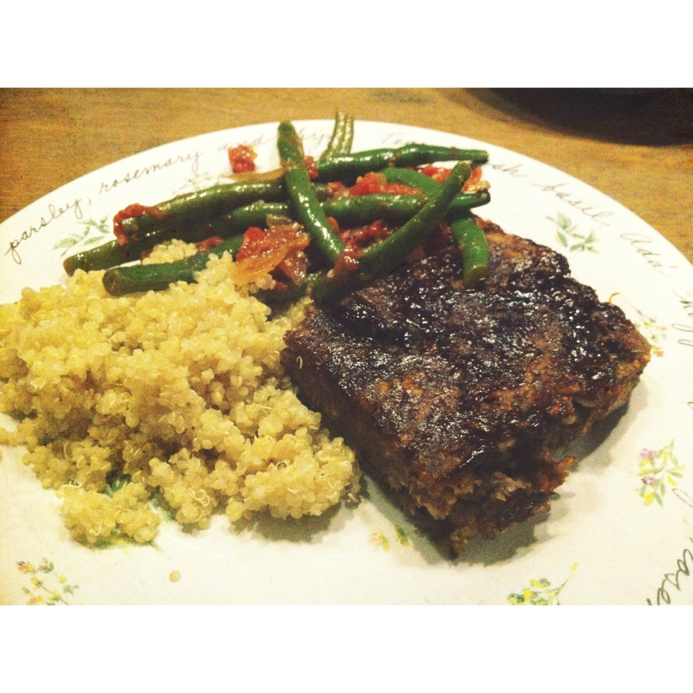lentil loaf, quinoa and green beans